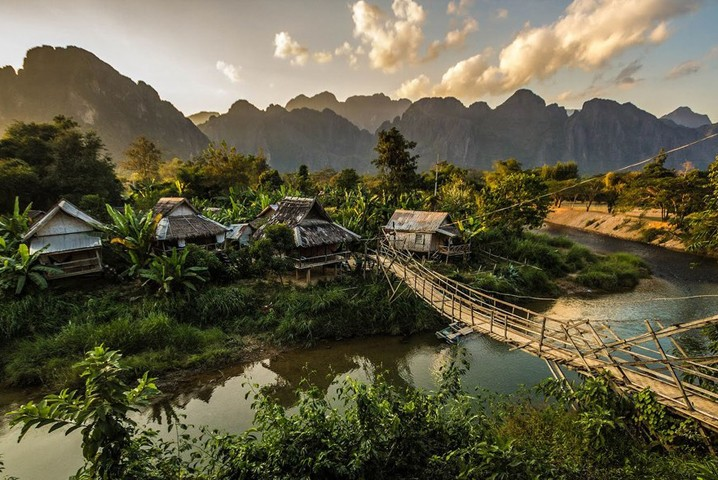 Farming Village in Vang Vieng, LaosFarming Village in Vang Vieng, Laos
