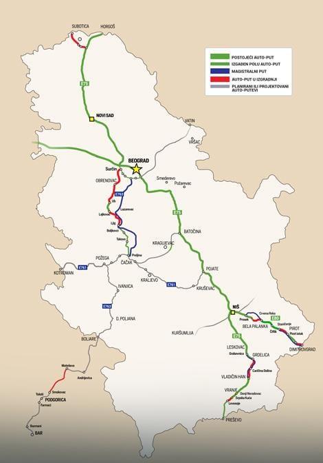 mapa autoputa srbije Detaljna mapa srpskih autoputeva   Ozonpress :: interportal mapa autoputa srbije